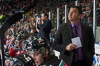 KELOWNA, CANADA - OCTOBER 25: Dan Lambert, head coach of the Kelowna Rockets watches the replay on the jumbotron against the Brandon Wheat Kings on October 25, 2014 at Prospera Place in Kelowna, British Columbia, Canada.  (Photo by Marissa Baecker/Shoot the Breeze)  *** Local Caption *** Dan Lambert;