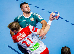 Vadim Gayduchenko of Belarus during handball match between National teams of Norway and Norway on Day 3 in Preliminary Round of Men's EHF EURO 2018, on January 14, 2018 in Arena Zatika, Porec, Croatia. Photo by Ziga Zupan / Sportida