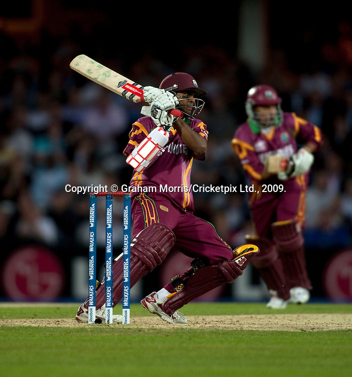 Shivnarine Chanderpaul, four off Stuart Broad, during the ICC World Twenty20 Cup match between West Indies and England at The Oval. Photo © Graham Morris (Tel: +44(0)20 8969 4192 Email: sales@cricketpix.com)