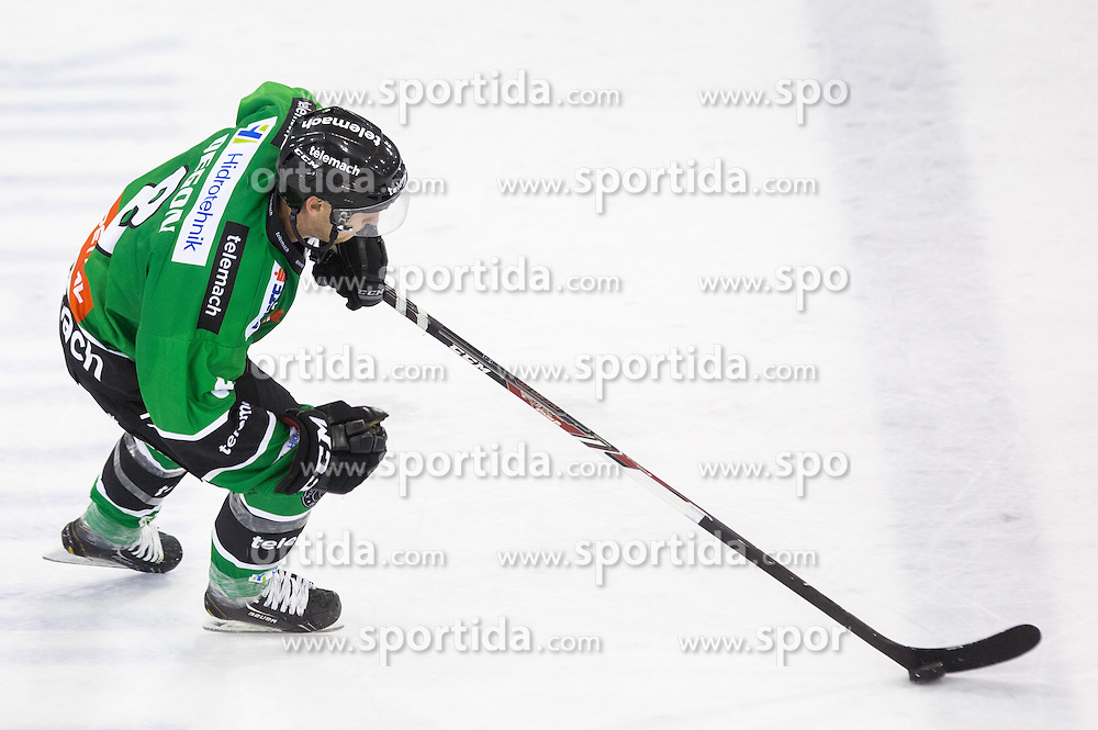 19.09.2014, Hala Tivoli, Ljubljana, SLO, EBEL, HDD Telemach Olimpija Ljubljana vs HC Znojmo Orli, 3. Runde, in picture Marvin Degon (HDD Telemach Olimpija, #8) celebrates after scoring a goal during the Erste Bank Icehockey League 3. Round between HDD Telemach Olimpija Ljubljana and HC Znojmo Orli at the Hala Tivoli, Ljubljana, Slovenia on 2014/09/19. Photo by Matic Klansek Velej / Sportida