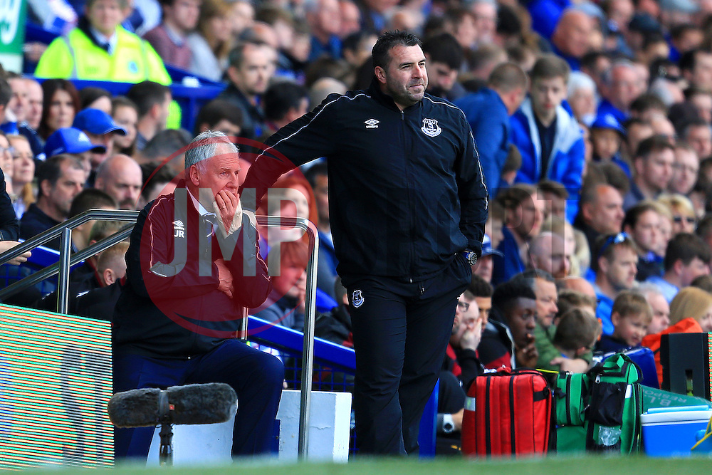 Everton Interim Managers Joe Royle and David Unsworth talk tactics by the dug out  - Mandatory byline: Matt McNulty/JMP - 15/05/2016 - FOOTBALL - Goodison Park - Liverpool, England - Everton v Norwich City - Barclays Premier League