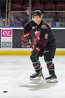 KELOWNA, BC - JANUARY 16:  Justin Almeida #8 of the Moose Jaw Warriors warms up with the puck against the Kelowna Rockets at Prospera Place on January 16, 2019 in Kelowna, Canada. (Photo by Marissa Baecker/Getty Images)