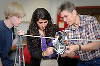 Dr. Terri Varnado works with College of Education students in one of her robotics classes. NCSU/Photo by Becky Kirkland.
