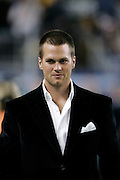 DETROIT, MI - FEBRUARY 5: New England Patriots quarterback Tom Brady makes an appearance with past Super Bowl MVPs at halftime of Super Bowl XL between the Seattle Seahawks and the Pittsburgh Steelers at Ford Field on February 5, 2006 in Detroit, Michigan. The Steelers defeated the Seahawks 21-10. (Photo by Joe Robbins) *** Local Caption *** Tom Brady