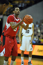 Jan 23, 2010; Columbia, MO, USA; Nebraska Cornhuskers guard Brandon Richardson (3) shoots a free throw in the first half of the game against the Missouri Tigers at Mizzou Arena in Columbia, MO. Missouri won 70-53. Mandatory Credit: Denny Medley-US PRESSWIRE