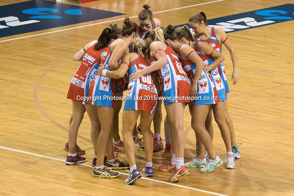 The Swifts' huddle during the ANZ Championship - Pulse v Swifts netball match at the TSB Arena in Wellington on Saturday the 25th of April 2015. Photo by Marty Melville / www.Photosport.co.nz