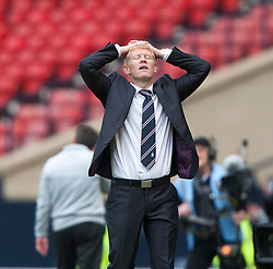 Falkirk manager Gary Holt after Falkirk's Lyle Taylor misses a chance in the last minutes of extra time..Hibernian 4 v 3 Falkirk, William Hill Scottish Cup Semi Final, Hampden Park..©Michael Schofield...