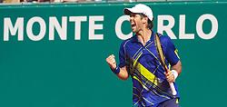 MONTE-CARLO, MONACO - Saturday, April 17, 2010: Fernando Verdasco (ESP) celebrates following his 6-2, 6-2 victory during the Men's Singles Semi-Final on day six of the ATP Masters Series Monte-Carlo at the Monte-Carlo Country Club. (Photo by David Rawcliffe/Propaganda)