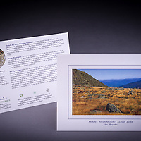A scenice view from the Alpine Garden on top of NH's largest peak.  Mount Washington is home to several rare and endangered species, including the White Mountain Butterfly which is featured on the back of the card. <br />