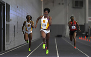 Feb 24, 2017; Seattle, WA, USA; Kendall Ellis of Southern California (center) wins women's 200m heat in a meet record 23.09 during the MPSF Indoor Championships at the Dempsey Indoor. From left: Destinee Brown (USC), Ellis and Lexis Lambert (Cal State Northridge).
