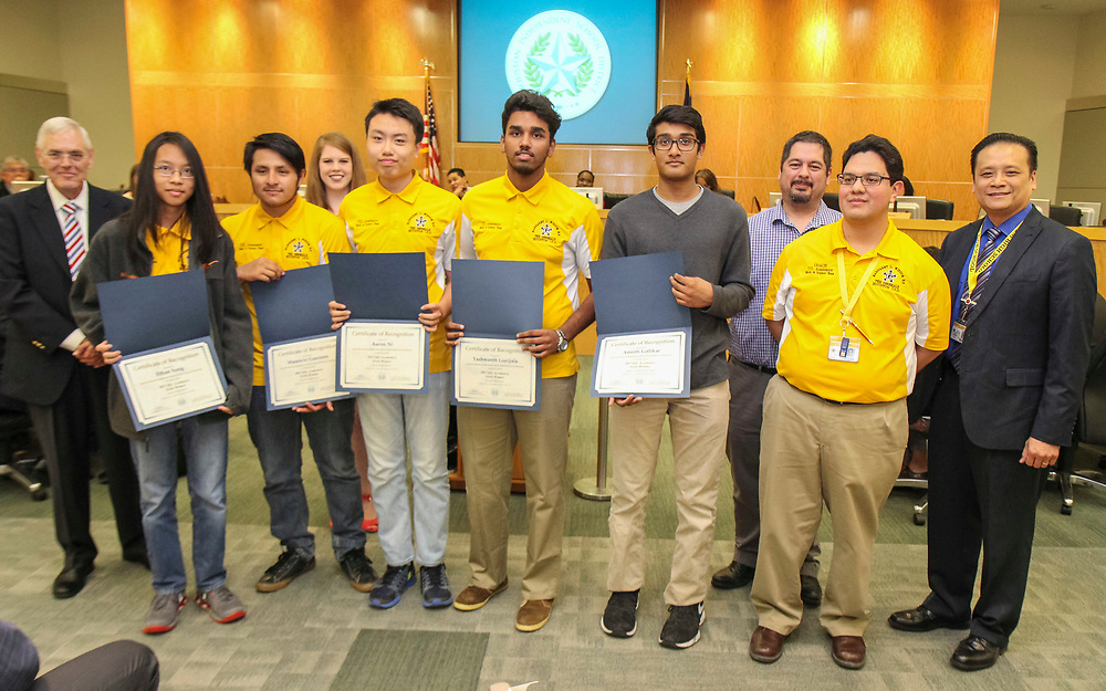 Members of the Wisdom High School Math & Science Team are recognized during a Houston ISD Board of Trustees meeting, June 8, 2017.