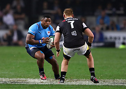 Lizo Gboka of the Bulls runs into Jean-Luc du Preez of the Sharks during the Currie Cup match between the The Sharks and The Blue Bulls held at King's Park, Durban, South Africa on the 27th August 2016<br /> <br /> Photo by:   Anesh Debiky / Real Time Images