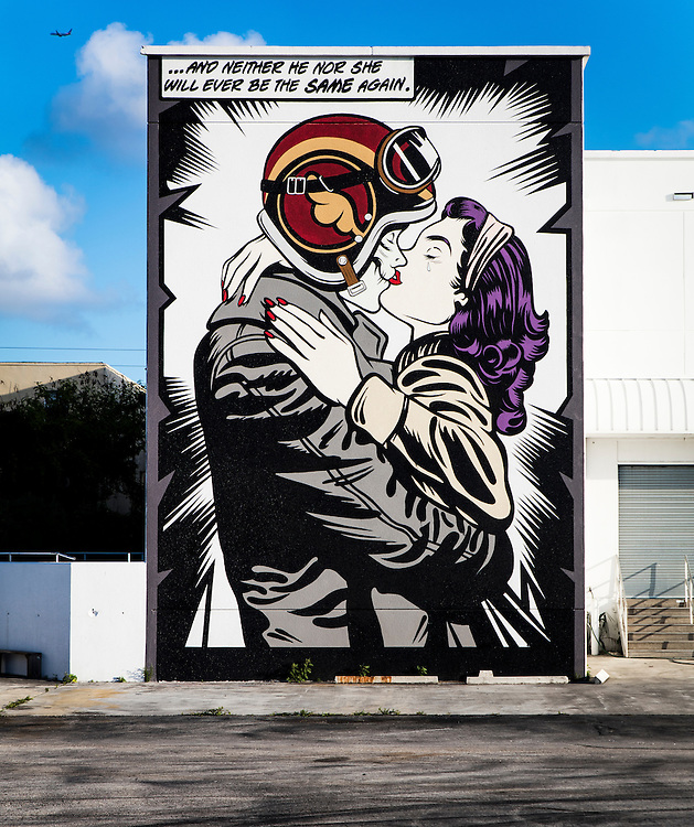 A giant, comicbook-style, pop art mural at the Mana Miami arts complex in Wynwood