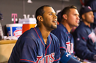 Aaron Hicks #32 of the Minnesota Twins smiles in the dugout after hitting his 2nd home run of the game against the Chicago White Sox on May 13, 2013 at Target Field in Minneapolis, Minnesota.  The Twins defeated the White Sox 10 to 3.  Photo: Ben Krause