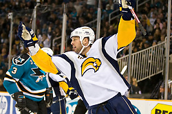 January 23, 2010; San Jose, CA, USA; Buffalo Sabres center Tim Connolly (19) reacts after scoring a goal against the San Jose Sharks during the first period at HP Pavilion.  San Jose defeated Buffalo 5-2. Mandatory Credit: Jason O. Watson / US PRESSWIRE