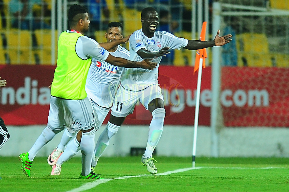 Momar Ndoye of FC Pune City celebrates the goal during match 8 of the Indian Super League (ISL) season 3 between FC Goa and FC Pune City held at the Fatorda Stadium in Goa, India on the 8th October 2016.<br /> <br /> Photo by Faheem Hussain / ISL/ SPORTZPICS