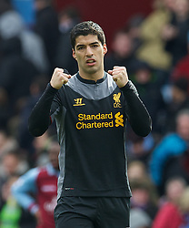 BIRMINGHAM, ENGLAND - Easter Sunday, March 31, 2013: Liverpool's Luis Alberto Suarez Diaz celebrates the 2-1 victory over Aston Villa during the Premiership match at Villa Park. (Pic by David Rawcliffe/Propaganda)