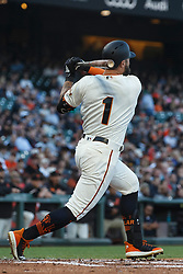 SAN FRANCISCO, CA - JUNE 12: Kevin Pillar #1 of the San Francisco Giants at bat against the San Diego Padres during the second inning at Oracle Park on June 12, 2019 in San Francisco, California. The San Francisco Giants defeated the San Diego Padres 4-2. (Photo by Jason O. Watson/Getty Images) *** Local Caption *** Kevin Pillar