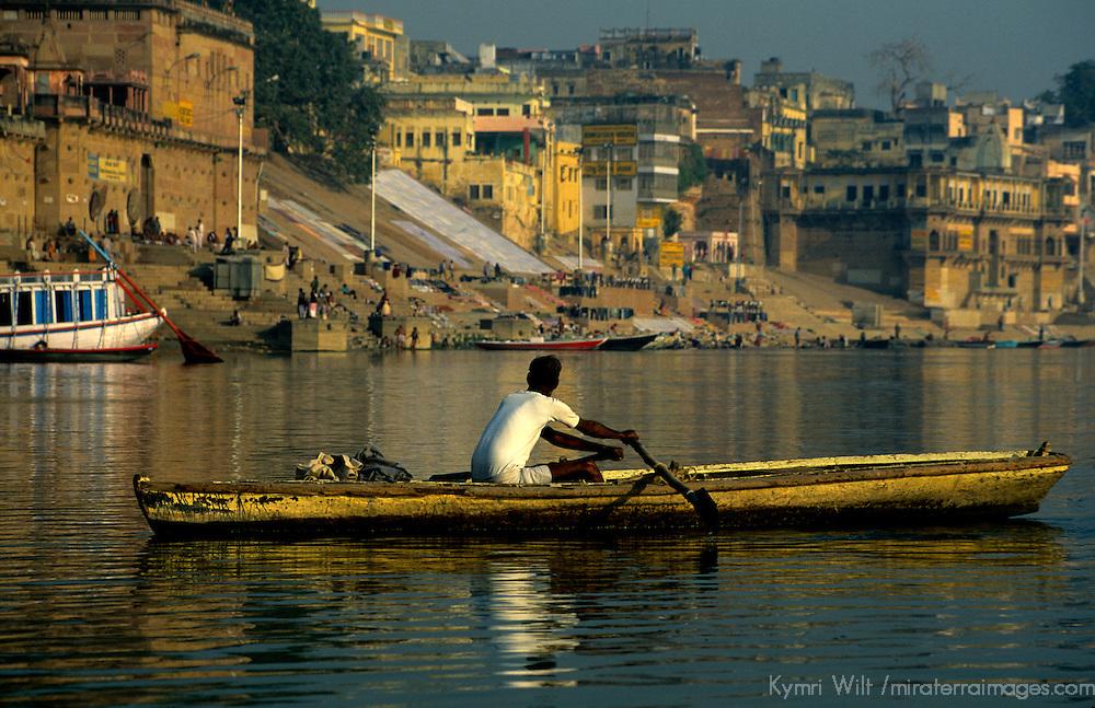 Asia, India, Varanasi. Boatman on the Ganges River.