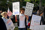 Supporters of the Jefferson County school board rally outside the board meeting in Golden, Colorado October 2, 2014. The question of how U.S. teens learn history in public schools is the latest flash point in a liberal-conservative fight over national curricula that had previously focused on more scientific topics such as teaching creationism versus evolution.  REUTERS/Rick Wilking (UNITED STATES)