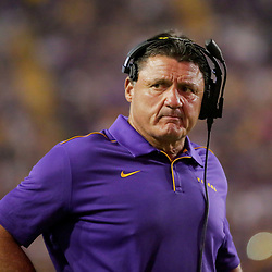 Aug 31, 2019; Baton Rouge, LA, USA; LSU Tigers head coach Ed Orgeron during the second half against the Georgia Southern Eagles at Tiger Stadium. Mandatory Credit: Derick E. Hingle-USA TODAY Sports