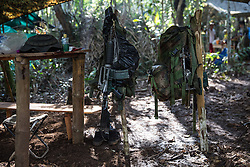 El Diamante, Meta, Colombia - 15.09.2016        <br /> <br /> Guerilla camp during the 10th conference of the marxist FARC-EP in El Diamante, a Guerilla controlled area in the Colombian district Meta. Few days ahead of the peace contract passing after 52 years of war with the Colombian Governement wants the FARC decide on the 7-days long conferce their transformation into a unarmed political organization. <br /> <br /> Guerilla-Camps zur zehnten Konferenz der marxistischen FARC-EP in El Diamante, einem von der Guerilla kontrollierten Gebiet im kolumbianischen Region Meta. Wenige Tage vor der geplanten Verabschiedung eines Friedensvertrags nach 52 Jahren Krieg mit der kolumbianischen Regierung will die FARC auf ihrer sieben taegigen Konferenz die Umwandlung in eine unbewaffneten politischen Organisation beschlieflen. <br />  <br /> Photo: Bjoern Kietzmann