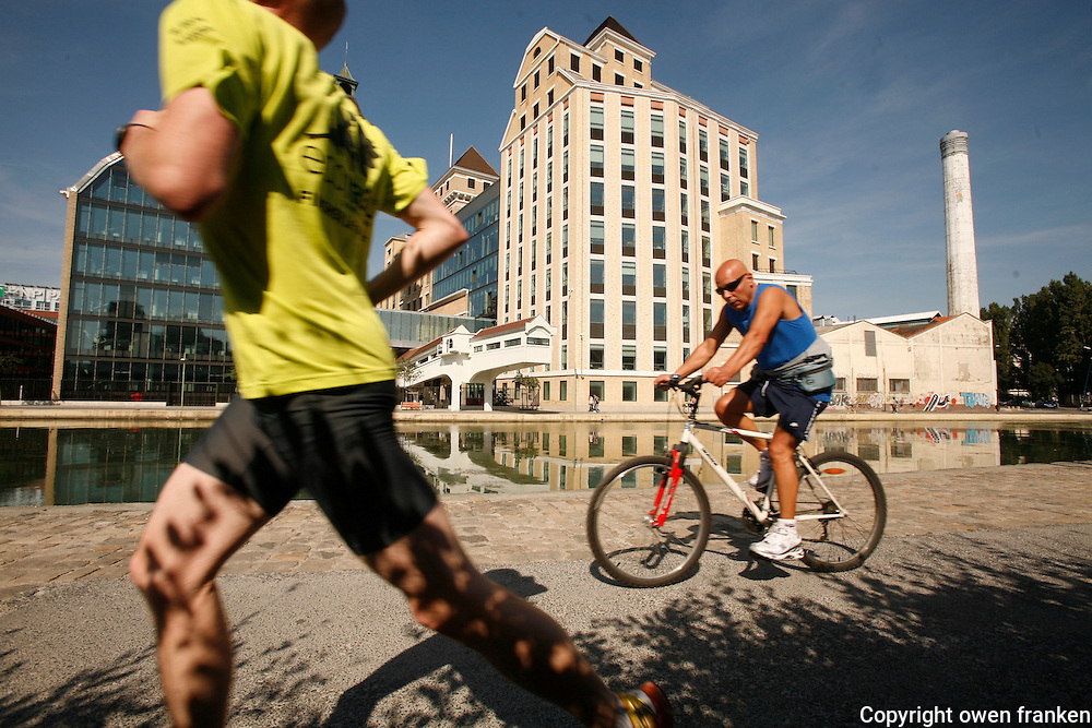 Bicycling along the Canal d'Ourcq, in Paris near Cité de la Villette..September 16, 2012..Photograph by Owen Franken for the NY Times