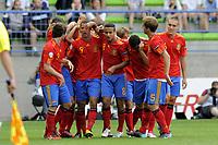 FOOTBALL - UEFA EURO 2010 UNDER 19 - FINAL - FRANCE  v SPAIN  - 30/07/2010  - PHOTO JEAN MARIE HERVIO / DPPI - JOY SPAIN AFTER 1ST GOAL