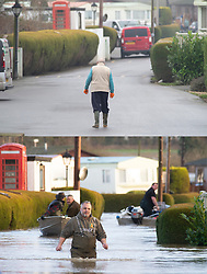 ©Licensed to London News Pictures  <br /> Yalding ,UK. Comparison picture showing Flood waters receding at from the River Medway and River Beult at Little Venice Lodge and caravan park in Yalding today 28/12/2019 (TOP) and at their height a week ago on 21/12/2019 (BOTTOM).  Photo credit: Grant Falvey/LNP