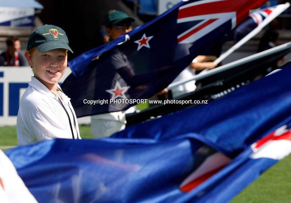 Flag bearer James McNicol.<br />2nd one day international. New Zealand Black Caps versus Australia one day Chappell Hadlee cricket series. Eden Park, Auckland, New Zealand. Saturday 6 March 2010. Photo: Andrew Cornaga/PHOTOSPORT