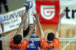 Block of Scott Touzinsky and Alen Pajenk vs Andrej Berdon of Salonit at 4th and final match of Slovenian Voleyball  Championship  between OK Salonit Anhovo (Kanal) and ACH Volley (from Bled), on April 23, 2008, in Kanal, Slovenia. The match was won by ACH Volley (3:1) and it became Slovenian Championship Winner. (Photo by Vid Ponikvar / Sportal Images)/ Sportida)