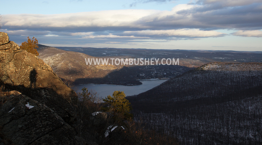 Cornwall, New York - A view of the Hudson River from Butter Hill in Storm King State Park on Feb. 20, 2010. The photographer's shadow is visible on the rock at left.