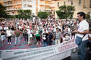 Lavello (PZ) 08.07.2011 - Isola Fenice. La lotta della popolazione lucana contro il termovalorizzatore Fenice. Nella Foto: La grande manifestazione contro l'impianto organizzata dai comitati No Fenice del Vulture-Melfese. Sul palco Nicola Abbiuso,  presidente del Comitato per il Diritto alla Salute di Lavello .