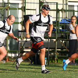 DURBAN, SOUTH AFRICA - MAY 03: Lourens Adriaanse with Etienne Oosthuizen and Dale Chadwick during the Cell C Sharks training session at Growthpoint Kings Park on May 03, 2016 in Durban, South Africa. (Photo by Steve Haag/Gallo Images)