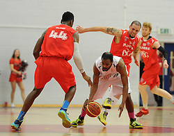 Bristol Flyers' Alif Bland closes the ball down - Photo mandatory by-line: Dougie Allward/JMP - Mobile: 07966 386802 - 28/03/2015 - SPORT - Basketball - Bristol - SGS Wise Campus - Bristol Flyers v London Lions - British Basketball League