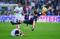 Zlatan IBRAHIMOVIC / Jeremy MOREL - 05.04.2015 - Marseille / Paris Saint Germain - 31eme journee de Ligue 1<br />Photo : Dave Winter / Icon Sport