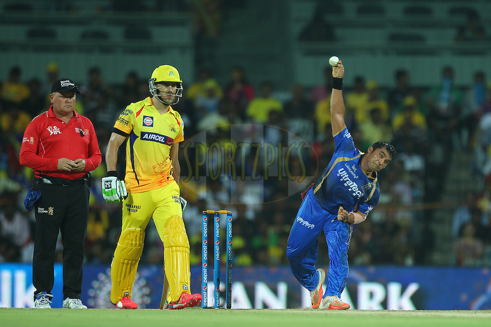 Pravin Tambe of the Rajasthan Royals  during match 47 of the Pepsi IPL 2015 (Indian Premier League) between The Chennai Superkings and The Rajasthan Royals held at the M. A. Chidambaram Stadium, Chennai Stadium in Chennai, India on the 10th May 2015.<br /> <br /> Photo by:  Ron Gaunt / SPORTZPICS / IPL