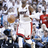 21 June 2012: Miami Heat shooting guard Dwyane Wade (3) brings the ball upcourt during the Miami Heat 121-106 victory over the Oklahoma City Thunder, in Game 5 of the 2012 NBA Finals, at the AmericanAirlinesArena, Miami, Florida, USA. The Miami Heat wins the series 4-1.