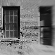Decaying Brick Building - Bodie, CA - Lensbaby - Black & White