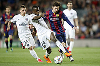 Leo Messi of Barcelona and Marco Verratti, Blaise Matuidi of PSG during the UEFA Champions League football match quarter final, 2 leg, between FC Barcelona and Paris Saint Germain on April 21, 2015 at Camp Nou stadium in Barcelona, Spain. Photo Bagu Blanco / DPPI