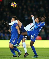 Dele Alli of Tottenham Hotspur controls the ball under pressure from Shinji Okazaki and Wilfred Ndidi of Leicester City - Mandatory by-line: Robbie Stephenson/JMP - 28/11/2017 - FOOTBALL - King Power Stadium - Leicester, England - Leicester City v Tottenham Hotspur - Premier League