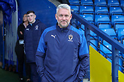 AFC Wimbledon assistant manager Nick Daws prior to kick off during the The FA Cup match between AFC Wimbledon and Doncaster Rovers at the Cherry Red Records Stadium, Kingston, England on 9 November 2019.
