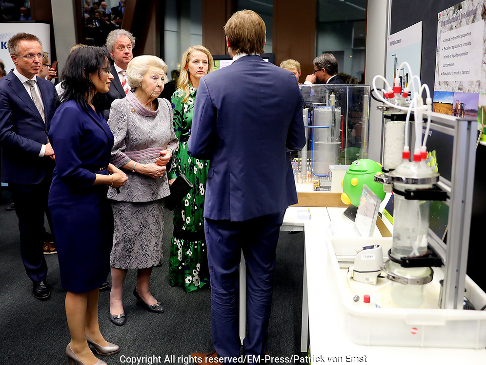 Prinses Beatrix en Prinses Mabel bij uitreiking vierde Prins Friso Ingenieursprijs. Deze vindt plaats op de 'Faculty of Science and Engineering' van de Rijksuniversiteit Groningen.  <br /> <br /> Princess Beatrix and Princess Mabel celebrates Prince Friso Ingenieursprijs at the award ceremony. This takes place at the 'Faculty of Science and Engineering' of the University of Groningen.<br /> <br /> Op de foto / On the photo:  Prinses Beatrix en Prinses Mabel /  Princess Beatrix and Princess Mabel