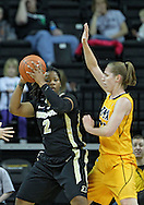 January 28, 2012: Purdue Boilermakers guard Antionette Howard (2) looks to pass around Iowa Hawkeyes forward Kelly Krei (20) during the NCAA women's basketball game between the Purdue Boilermakers and the Iowa Hawkeyes at Carver-Hawkeye Arena in Iowa City, Iowa on Saturday, January 28, 2012.