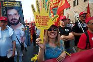 Roma 6 Settembre 2011.Manifestazione del sindacato CGIL contro la manovra del governo Berlusconi.