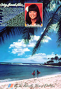 United Airlines magazine ad published on the back cover of Sunset magazine. Couple on the beach in Hawaii.