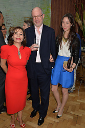 Left to right, DESIREE BOLLIER, JAMES LAMBERT and his daughter LAURA LAMBERT at a cocktail reception to celebrate the launch of the Bicester Village the British Designer's Collective 2014 held at the The Keeper's House, Royal Academy of Art, Piccadilly, London on 20th May 2014.