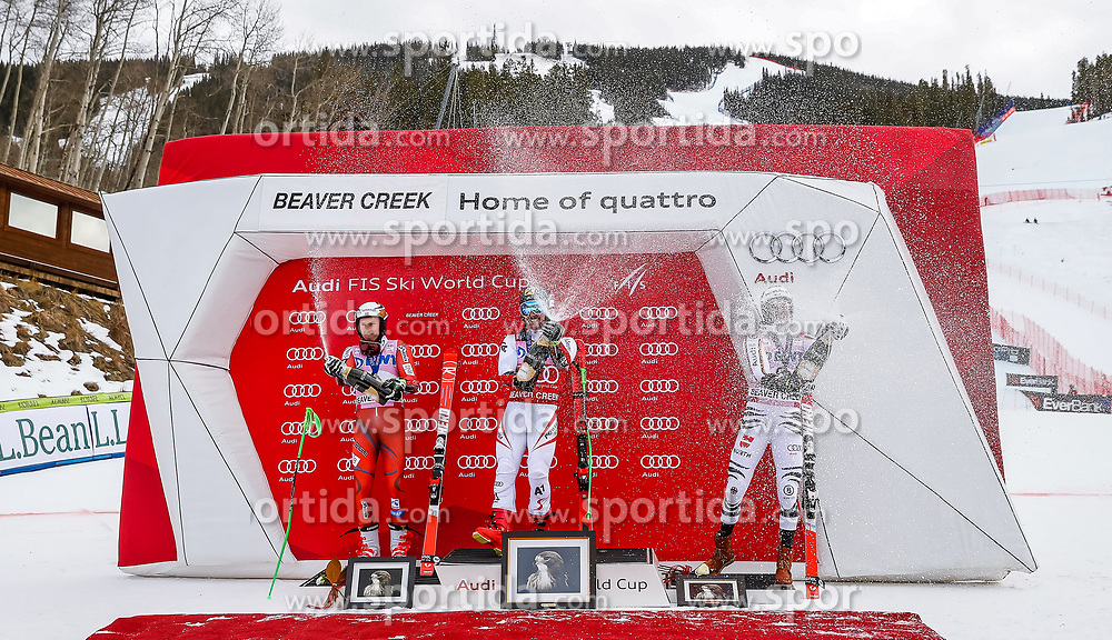 03.12.2017, Beaver Creek, USA, FIS Weltcup Ski Alpin, Beaver Creek, Riesenslalom, Herren, Siegerehrung, im Bild Henrik Kristoffersen (NOR, 2. Platz), Sieger Marcel Hirscher (AUT), Stefan Luitz (GER) // 2nd placed Henrik Kristoffersen of Norway Winner Marcel Hirscher of Austria 3rd placed Stefan Luitz of Germany during the winner Ceremony for the men's Giant Slalom of FIS Ski Alpine World Cup in Beaver Creek, United Staates on 2017/12/03. EXPA Pictures © 2017, PhotoCredit: EXPA/ Johann Groder