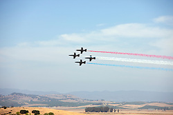 Airshows America's Patriot Jet Team Air Show performs before the start of the 2009 Sonoma Grand Prix IndyCar race was held at Infineon Raceway in Sonoma, California on August 23, 2009.