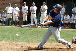 22 April 2006:  ....Viking Jim Wignall hits the ball and outruns it for an infield single.....In CCIW, Division 3 action, the Titans of Illinois Wesleyan capped the Auggies of Augustana College by a scor of 3-2 in game one of a double card afternoon.  Games were held at Jack Horenberger field on the campus of Illinois Wesleyan University in Bloomington, Illinois